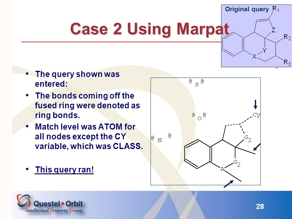 Case 2 Using Marpat The query shown was entered: