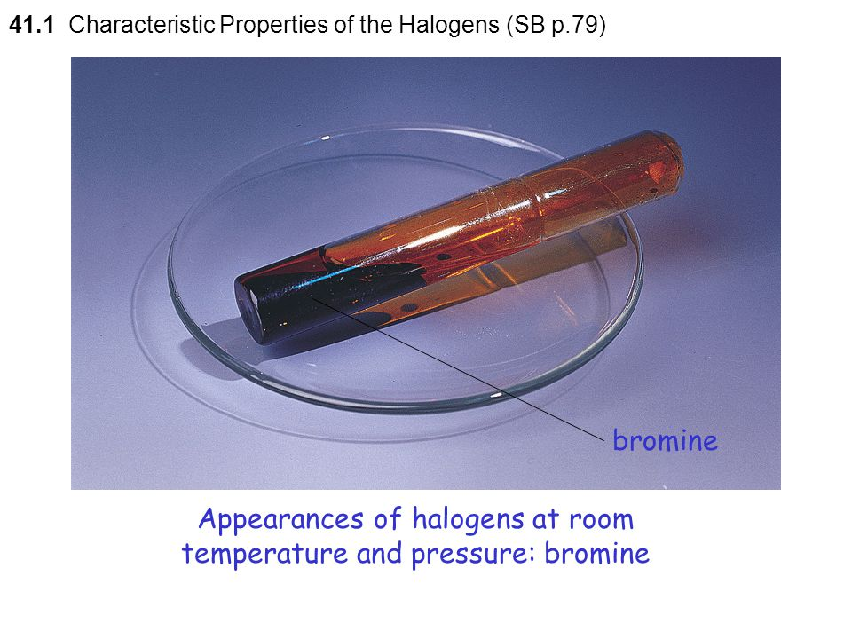 Appearances of halogens at room temperature and pressure: bromine