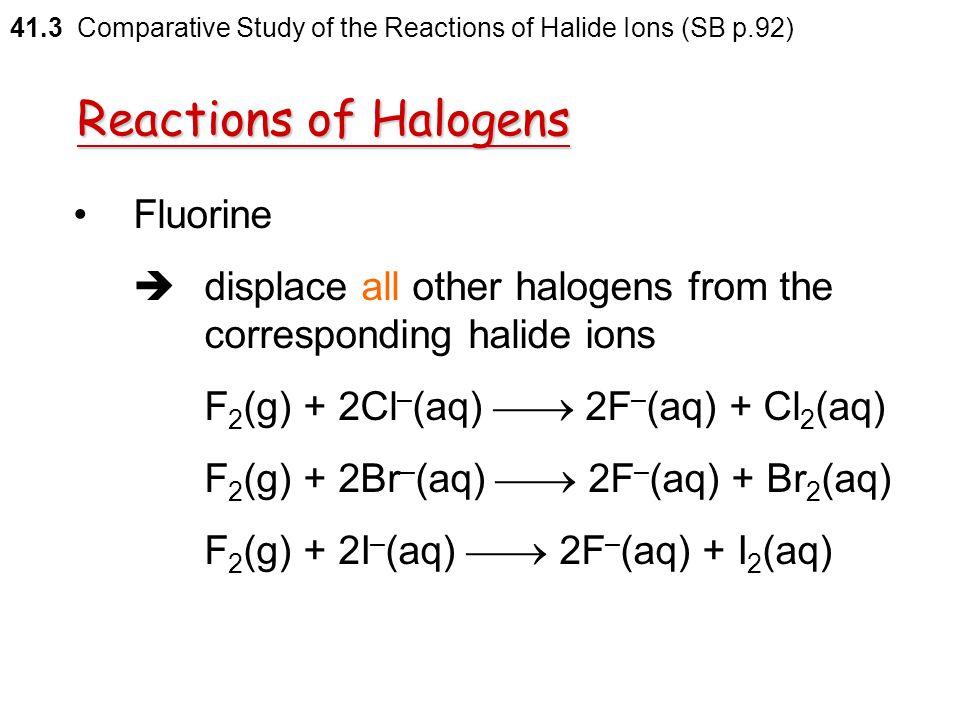 Reactions of Halogens Fluorine