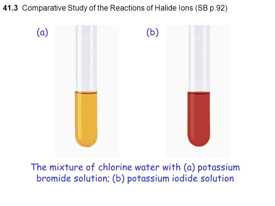 41.3 Comparative Study of the Reactions of Halide Ions (SB p.92)