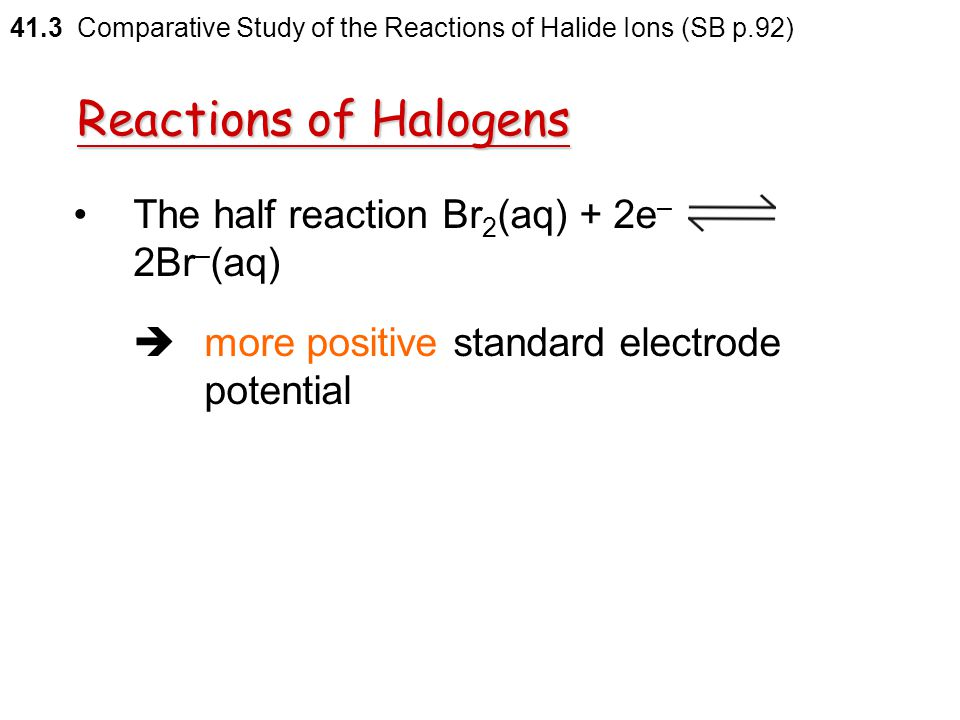 Reactions of Halogens The half reaction Br2(aq) + 2e– 2Br–(aq)