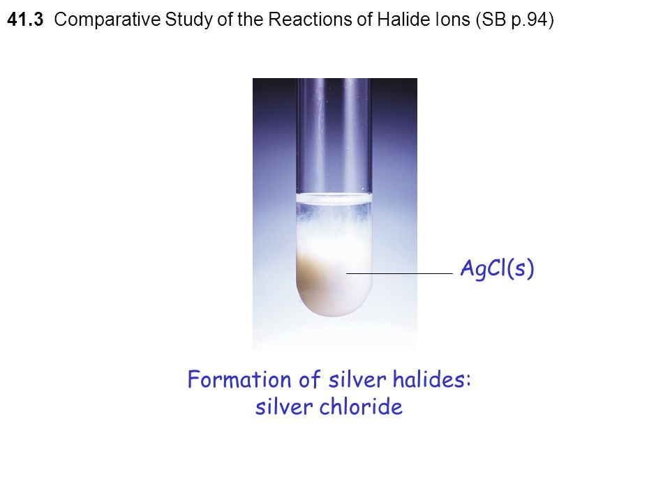Formation of silver halides: silver chloride
