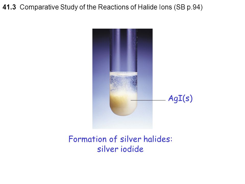 Formation of silver halides: silver iodide