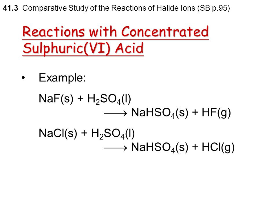 Reactions with Concentrated Sulphuric(VI) Acid