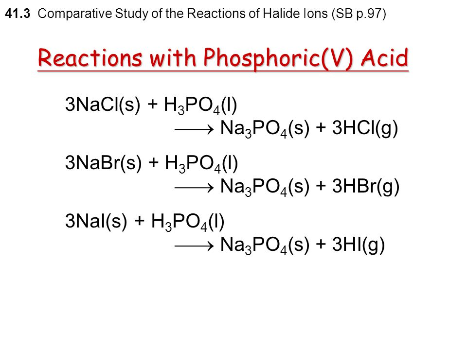Reactions with Phosphoric(V) Acid