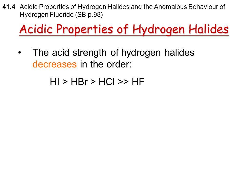 Acidic Properties of Hydrogen Halides
