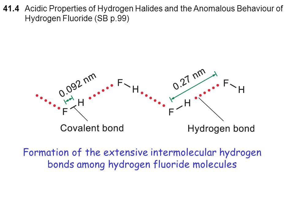 41.4 Acidic Properties of Hydrogen Halides and the Anomalous Behaviour of Hydrogen Fluoride (SB p.99)