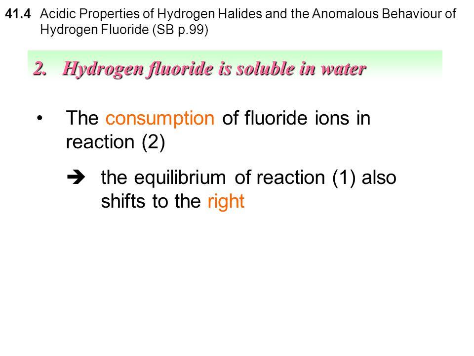 2. Hydrogen fluoride is soluble in water