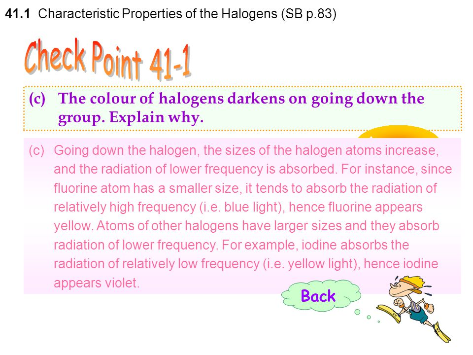 41.1 Characteristic Properties of the Halogens (SB p.83)