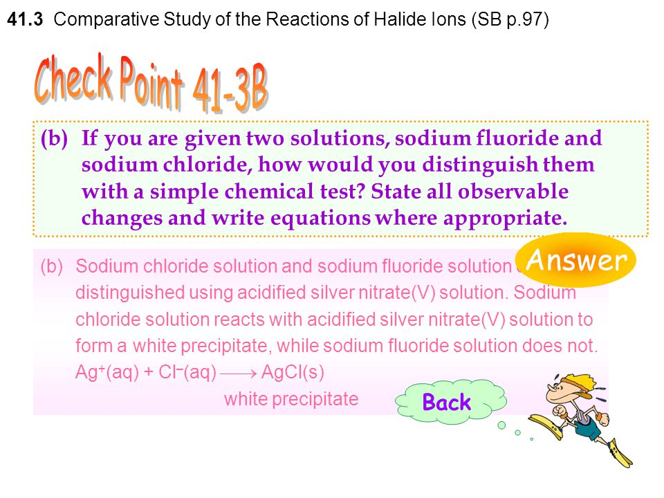 41.3 Comparative Study of the Reactions of Halide Ions (SB p.97)
