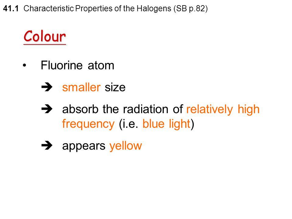 Colour Fluorine atom  smaller size