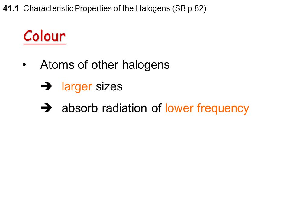 Colour Atoms of other halogens  larger sizes