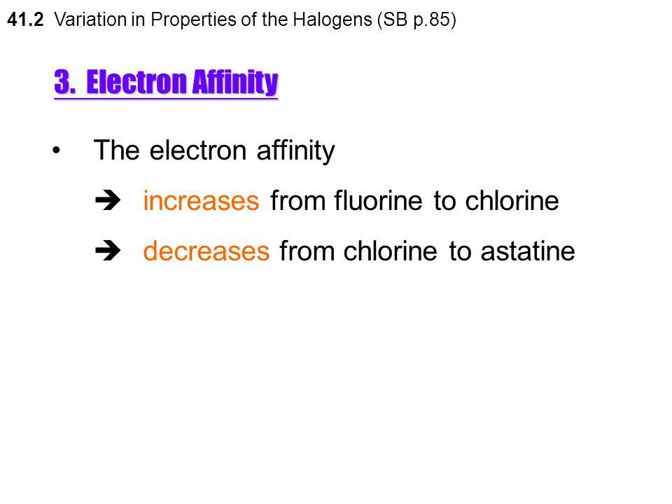 3. Electron Affinity The electron affinity