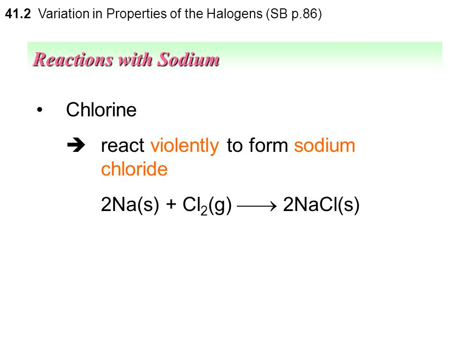  react violently to form sodium chloride