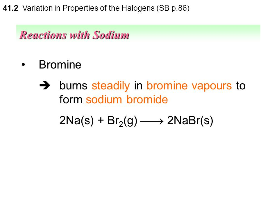  burns steadily in bromine vapours to form sodium bromide