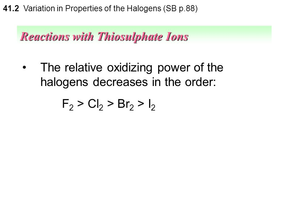 Reactions with Thiosulphate Ions
