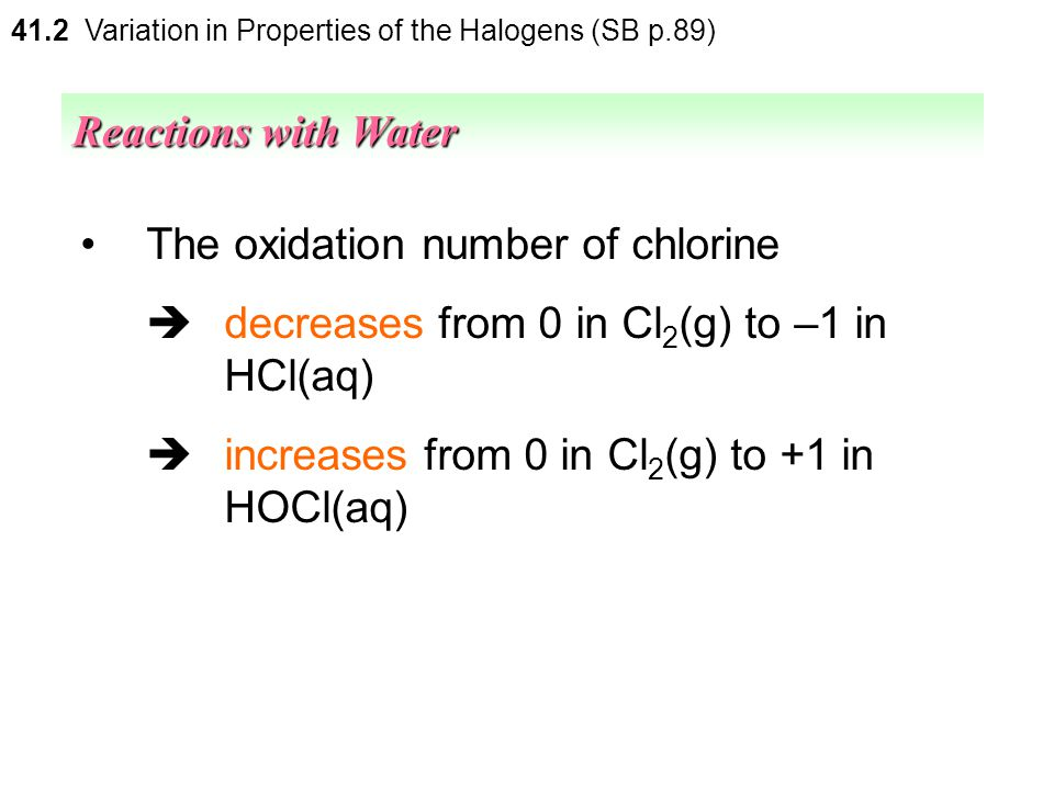The oxidation number of chlorine