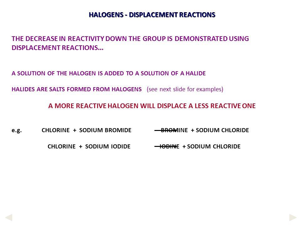 HALOGENS - DISPLACEMENT REACTIONS