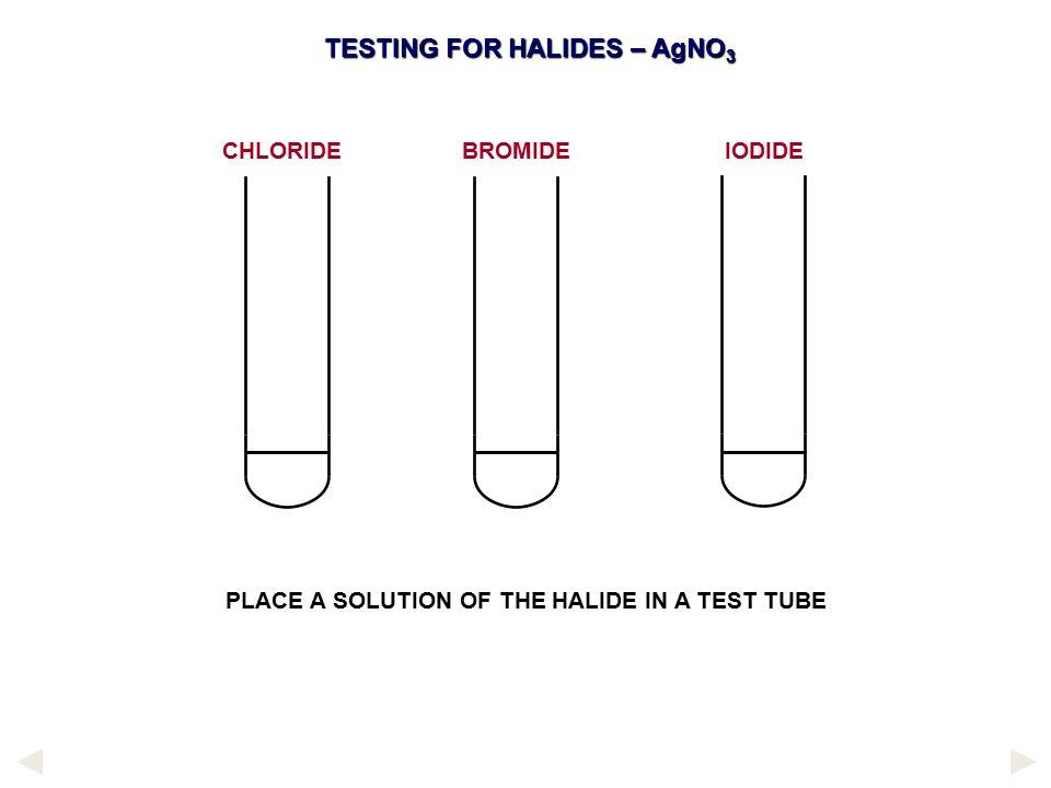 TESTING FOR HALIDES – AgNO3