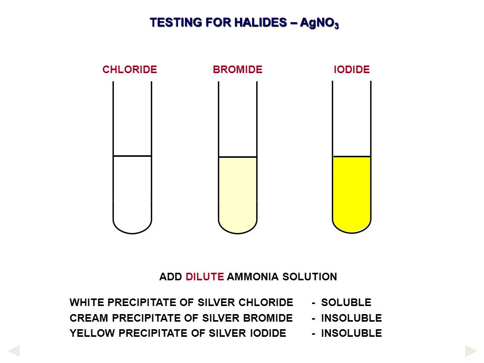 TESTING FOR HALIDES – AgNO3 ADD DILUTE AMMONIA SOLUTION
