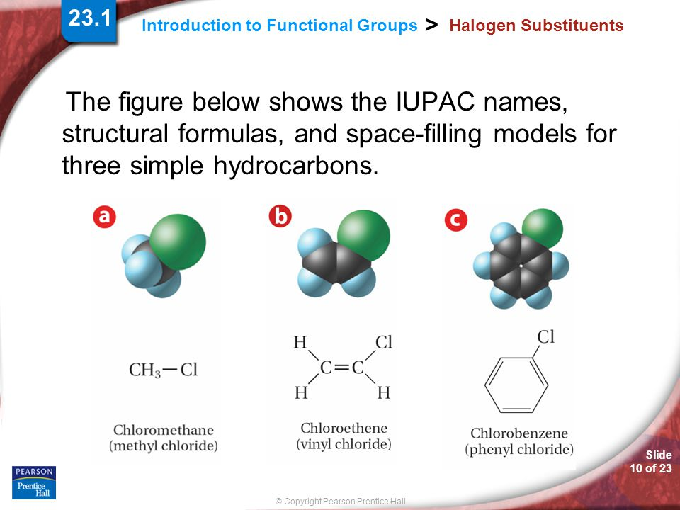 23.1 Halogen Substituents. The figure below shows the IUPAC names, structural formulas, and space-filling models for three simple hydrocarbons.
