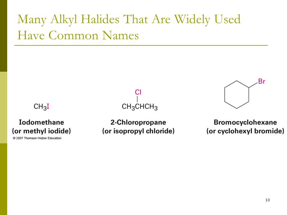 Many Alkyl Halides That Are Widely Used Have Common Names