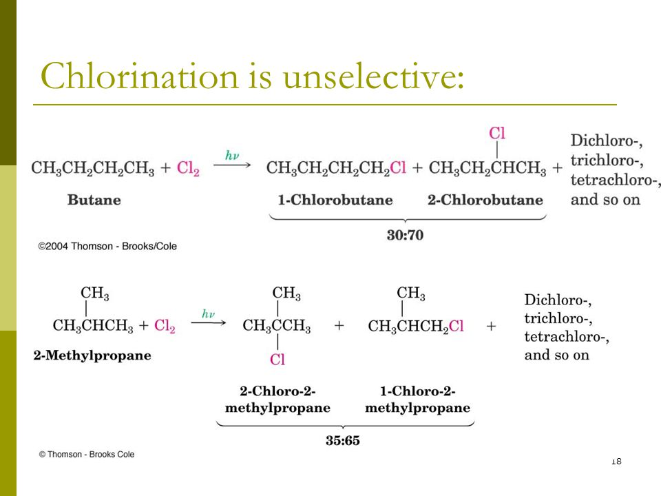 Chlorination is unselective: