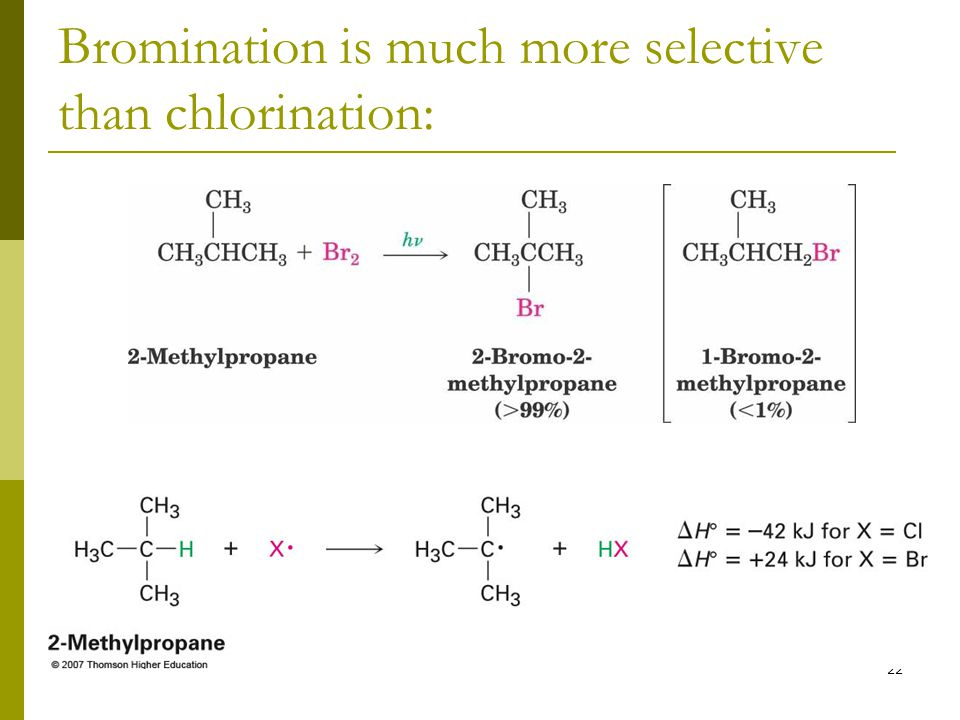 Bromination is much more selective than chlorination: