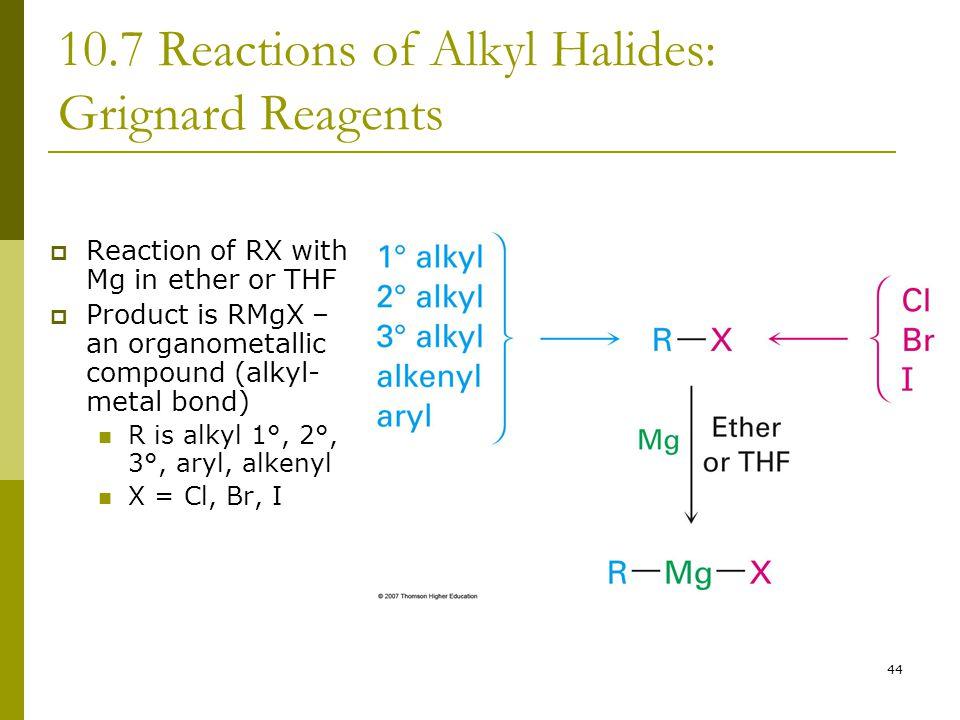 10.7 Reactions of Alkyl Halides: Grignard Reagents