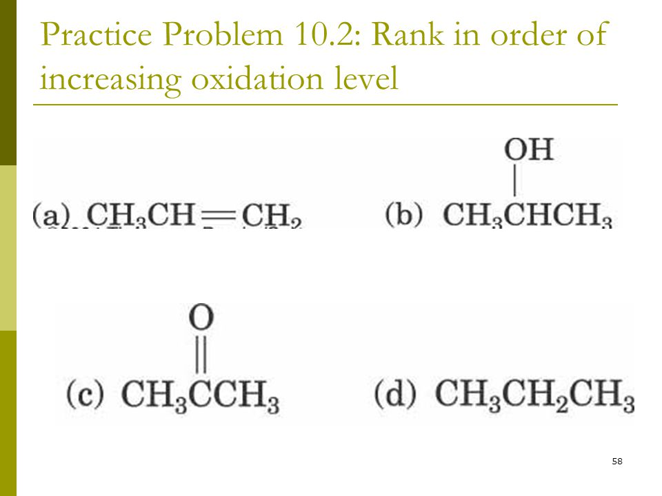 Practice Problem 10.2: Rank in order of increasing oxidation level