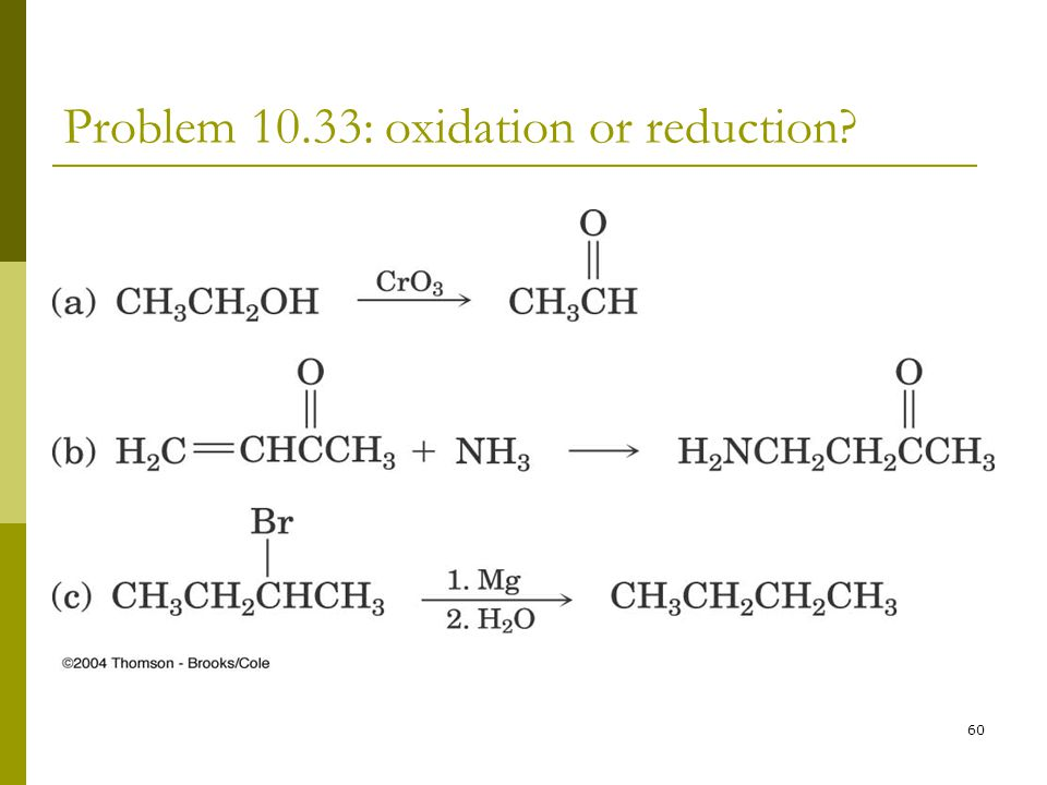Problem 10.33: oxidation or reduction