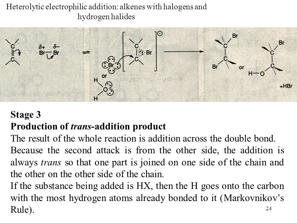 Production of trans-addition product