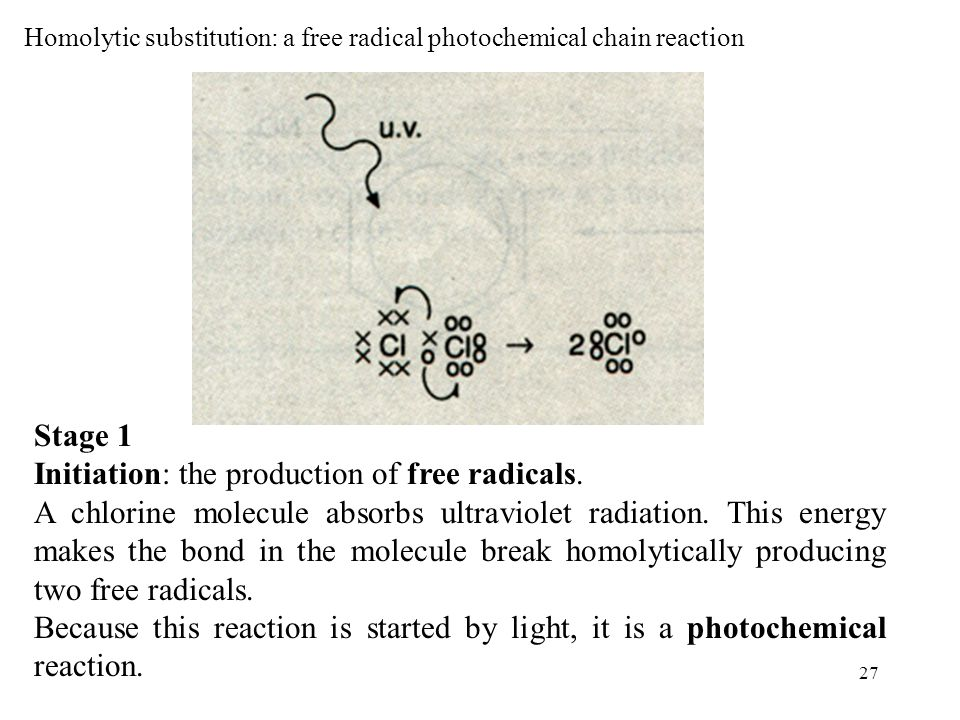 Homolytic substitution: a free radical photochemical chain reaction