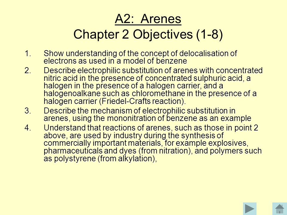 A2: Arenes Chapter 2 Objectives (1-8)