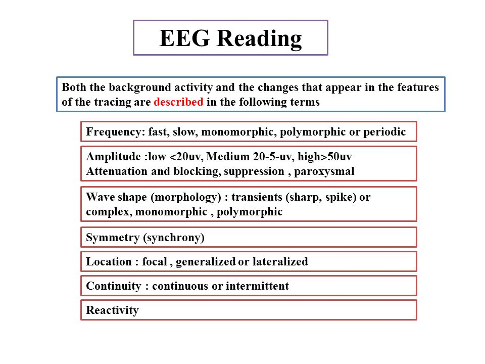 EEG Reading Both the background activity and the changes that appear in the features of the tracing are described in the following terms.