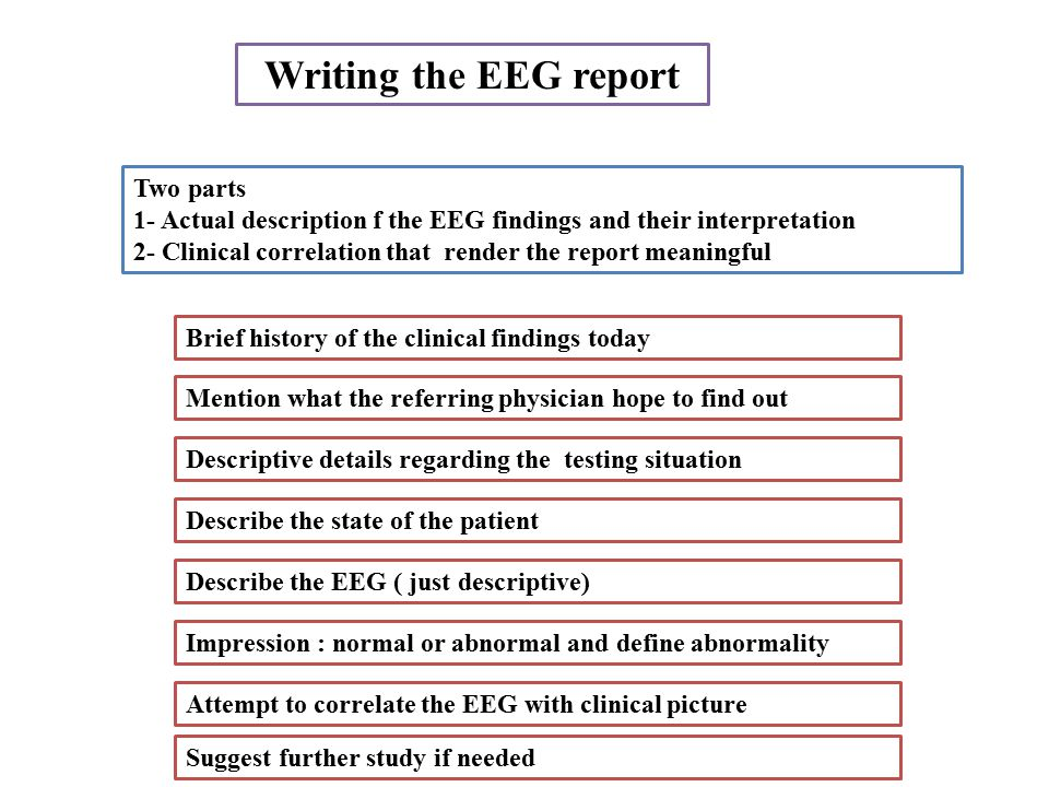 Writing the EEG report Two parts