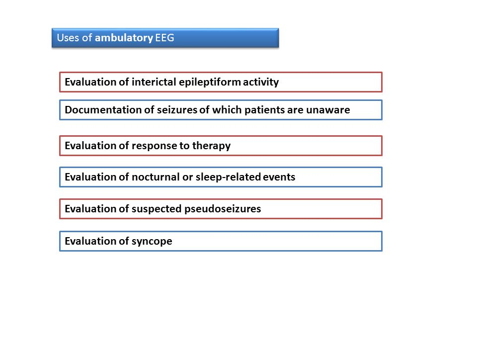Uses of ambulatory EEG Evaluation of interictal epileptiform activity. Documentation of seizures of which patients are unaware.