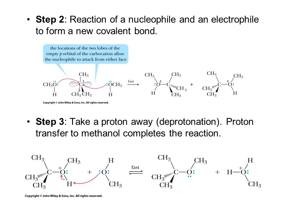 Step 2: Reaction of a nucleophile and an electrophile to form a new covalent bond.