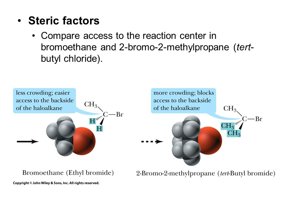 Steric factors Compare access to the reaction center in bromoethane and 2-bromo-2-methylpropane (tert-butyl chloride).