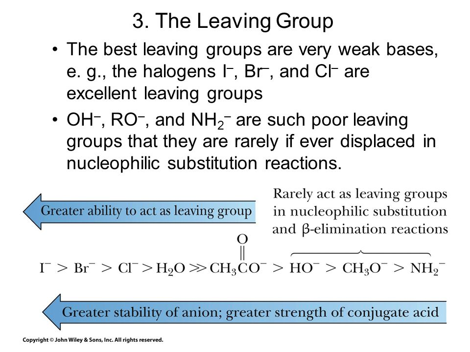 3. The Leaving Group The best leaving groups are very weak bases, e. g., the halogens I–, Br–, and Cl– are excellent leaving groups.