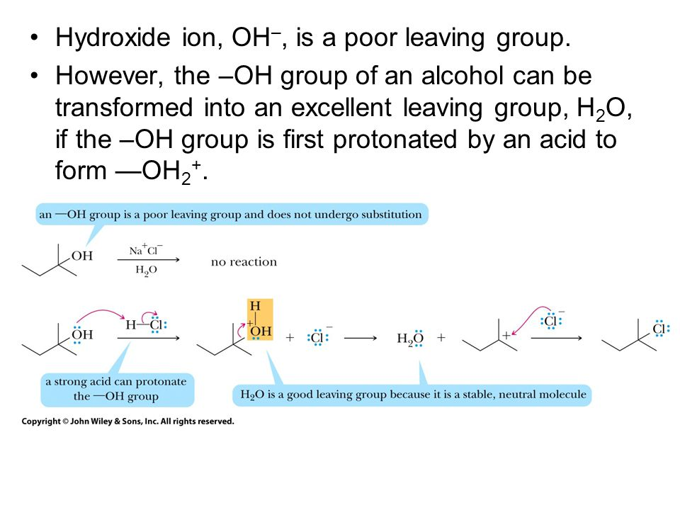 Hydroxide ion, OH–, is a poor leaving group.
