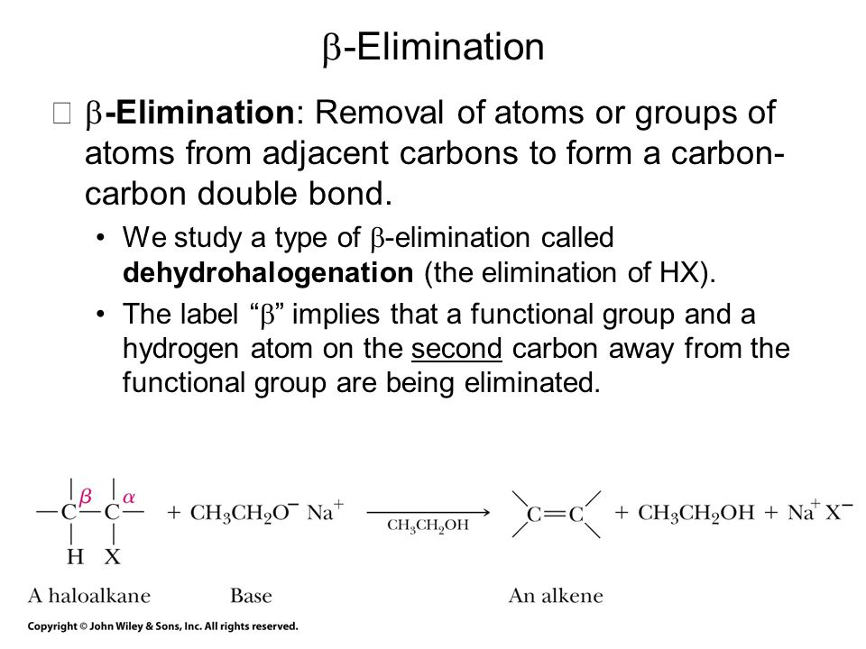 b-Elimination b-Elimination: Removal of atoms or groups of atoms from adjacent carbons to form a carbon-carbon double bond.