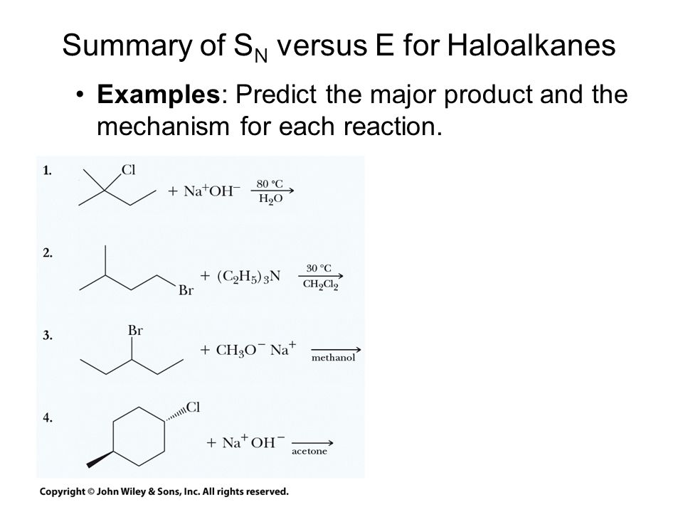 Summary of SN versus E for Haloalkanes