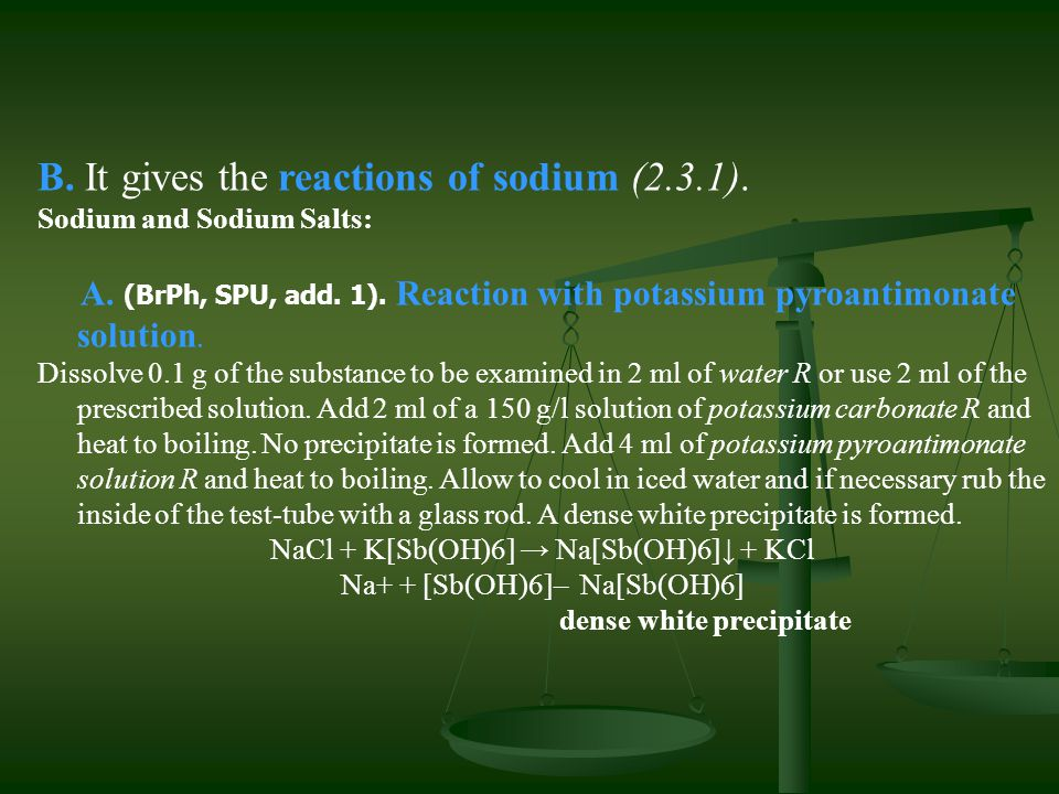 B. It gives the reactions of sodium (2.3.1).