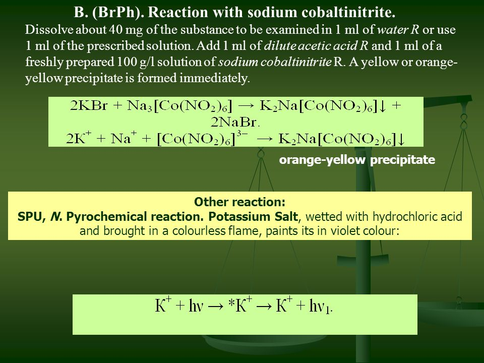 B. (BrPh). Reaction with sodium cobaltinitrite.