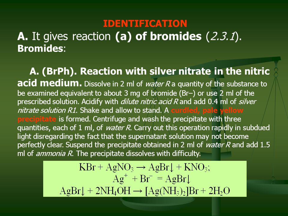A. It gives reaction (a) of bromides (2.3.1).
