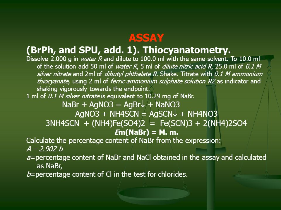 ASSAY (BrPh, and SPU, add. 1). Thiocyanatometry.