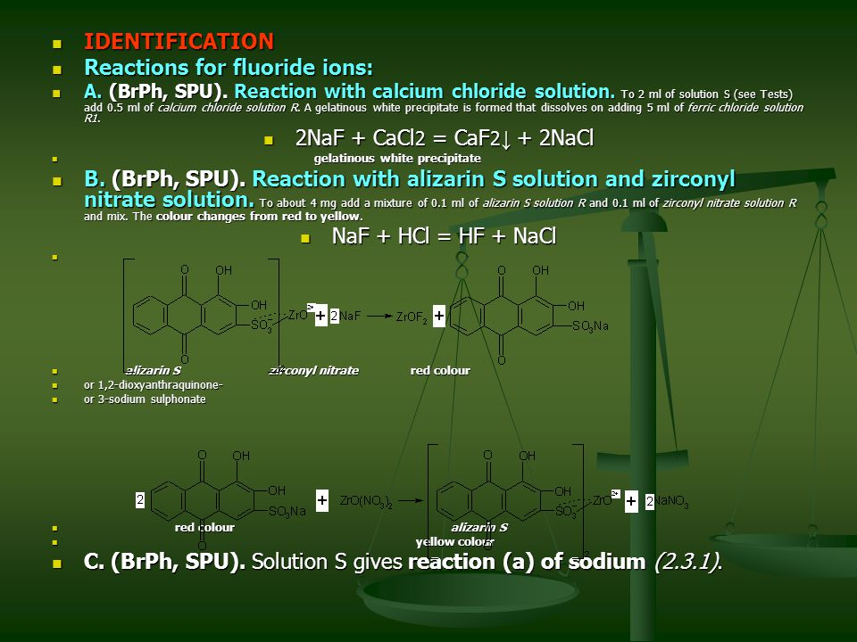 Reactions for fluoride ions: