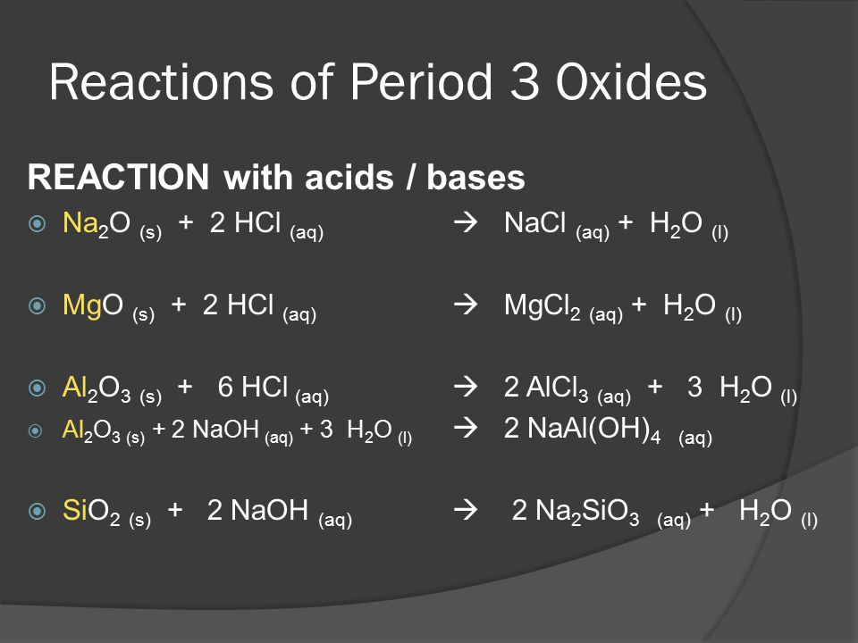Reactions of Period 3 Oxides