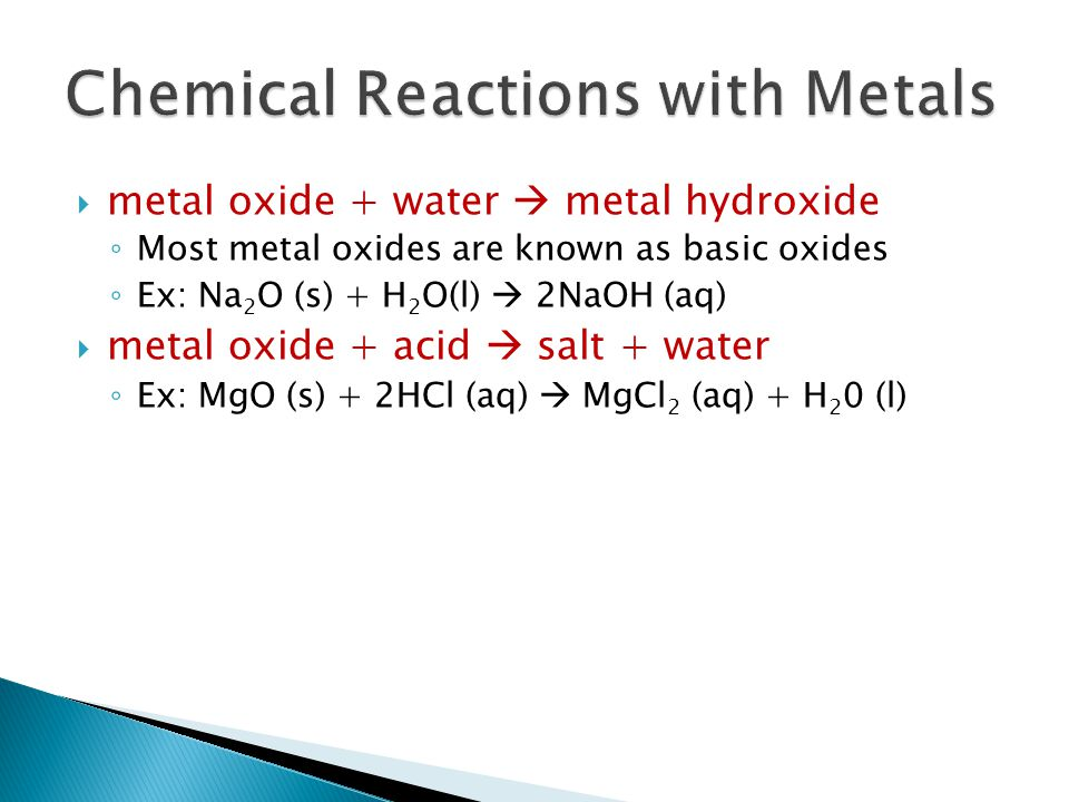Chemical Reactions with Metals
